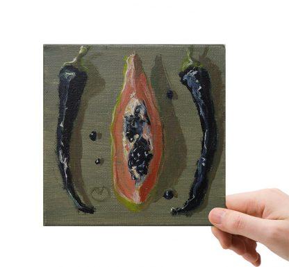 Compositie met papaja en pepers