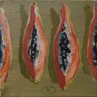 Compositie papaja in vieren