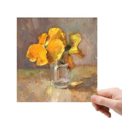Gele viooltjes in kappertjespotje