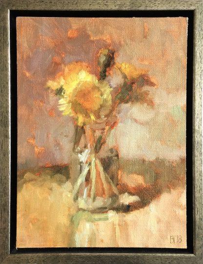 Paardenbloemen in glazen potje